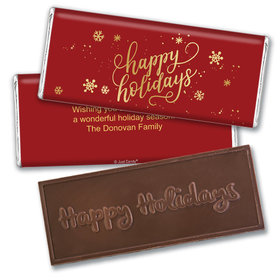 Personalized Happy Holidays Embossed Chocolate Bar