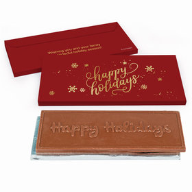 Deluxe Personalized Happy Holidays Embossed Happy Holidays Chocolate Bar in Gift Box