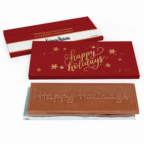 Deluxe Personalized Happy Holidays Add Your Logo Embossed Happy Holidays Chocolate Bar in Gift Box