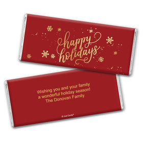 Personalized Happy Holidays Chocolate Bar Wrappers Only