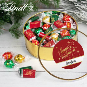 Personalized Corporate Happy Holidays Extra-Large Plastic Tin with Approx 1lb Hershey's Miniatures and Lindor Truffles by Lindt