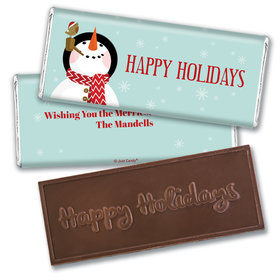 Personalized Happy Holidays Snowman Embossed Chocolate Bar