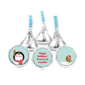 """Personalized Happy Holidays Snowman 3/4"""" Stickers (108 Stickers)"""