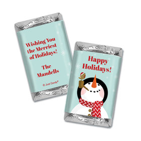 Personalized Happy Holidays Snowman Hershey's Miniatures Wrappers