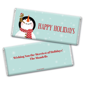 Personalized Happy Holidays Snowman Chocolate Bars