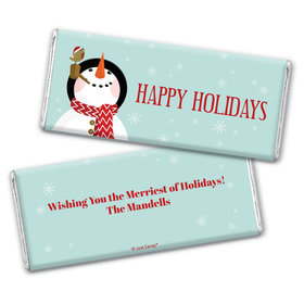 Personalized Happy Holidays Snowman Chocolate Bar Wrappers Only