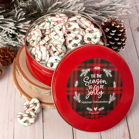 Personalized Christmas Plaid Holidays Tin with Holiday Yogurt Pretzels (1lb approx 80 pcs)
