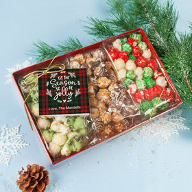 Personalized Christmas Plaid Holidays Gourmet Popcorn 3pk Gift Box with Tag