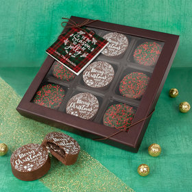 Personalized Christmas Plaid Gift Box Gourmet Belgian Chocolate Covered Oreos 9pk