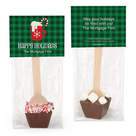 Personalized Happy Holidays Plaid Hot Chocolate Spoon