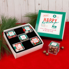 Personalized Happy Holidays Premium Gift Box with 5 JUST CANDY® favor cubes