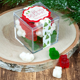 Personalized Christmas Be Merry JUST CANDY® favor cube with Gummy Bears