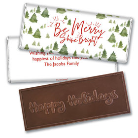 Personalized Christmas Be Merry Shine Bright Embossed Chocolate Bar