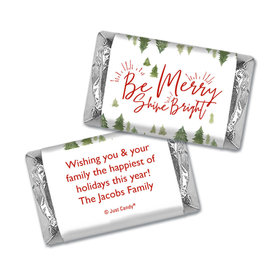 Personalized Christmas Be Merry Shine Bright Hershey's Miniatures Wrappers