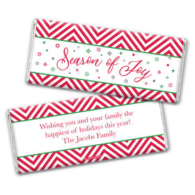 Personalized Christmas Season of Joy Chocolate Bar Wrappers Only