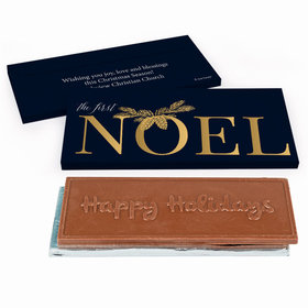 Deluxe Personalized First Noel Christmas Embossed Happy Holidays Chocolate Bar in Gift Box