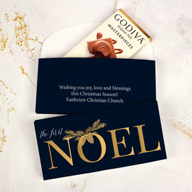 Deluxe Personalized First Noel Christmas Godiva Chocolate Bar in Gift Box