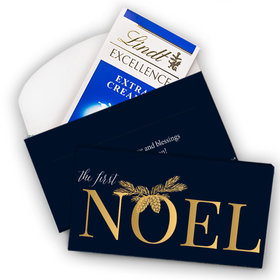 Deluxe Personalized First Noel Christmas Lindt Chocolate Bar in Gift Box (3.5oz)