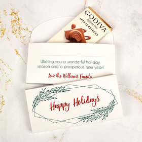 Deluxe Personalized Geometric Holiday Christmas Godiva Chocolate Bar in Gift Box