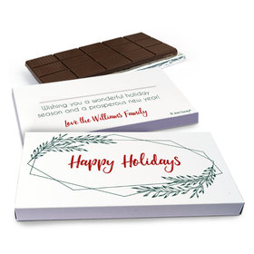 Deluxe Personalized Geometric Holiday Christmas Chocolate Bar in Gift Box (3oz Bar)