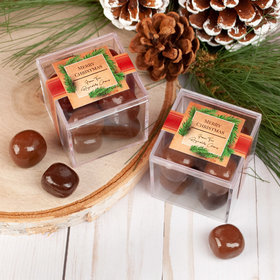Personalized Christmas Brown Paper Package JUST CANDY® favor cube with Premium Milk & Dark Chocolate Sea Salt Caramels