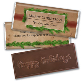 Personalized Christmas Brown Paper Packages Embossed Chocolate Bar