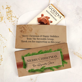 Deluxe Personalized Brown Paper Packages Christmas Godiva Chocolate Bar in Gift Box