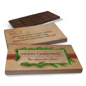 Deluxe Personalized Brown Paper Packages Christmas Chocolate Bar in Gift Box (3oz Bar)