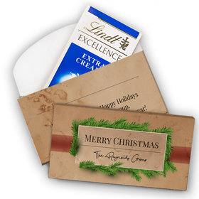 Deluxe Personalized Christmas Brown Paper Packages Lindt Chocolate Bar in Gift Box (3.5oz)