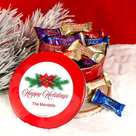Personalized Christmas Poinsettia Red Tin with Assorted Roca (approx 25 pcs)