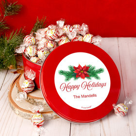 Personalized Christmas Poinsettia Tin with Lindt Truffles (approx 45 pcs)