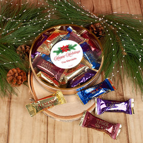 Personalized Happy Holidays Poinsettia Large Plastic Tin with Almond Roca (approx 12 pcs)