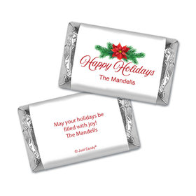 Personalized Happy Holidays Poinsettia Hershey's Miniatures Wrappers