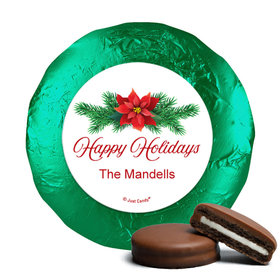 Personalized Happy Holidays Poinsettia Chocolate Covered Oreos