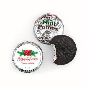 Personalized Happy Holidays Poinsettia Pearson's Mint Patties