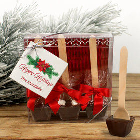 Personalized Happy Holidays Poinsettia Hot Coco Hot Chocolate Spoon 3pk
