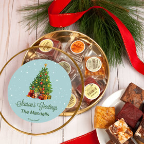 Personalized Christmas Season's Greetings Tin with Brownies (approx 8 pcs)