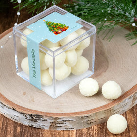 Personalized Christmas Seasons Greetings JUST CANDY® favor cube with Premium Sugar Cookie Bites