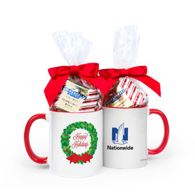 Personalized Happy Holidays Wreath Add Your Logo 11oz Mug with Ghirardelli Peppermint Bark Squares