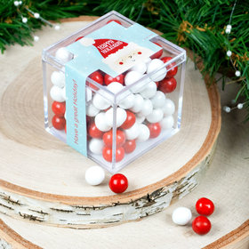 Personalized Happy Holidays Santa JUST CANDY® favor cube with Sixlets Chocolate