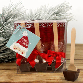 Personalized Happy Holidays Santa Hot Coco Hot Chocolate Spoon 3pk