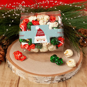 Personalized Happy Holidays Santa Christmas Candy Coated Popcorn 3.5 oz Bags