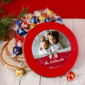 Personalized Christmas Welcoming Joy Tin with Lindt Truffles (approx 45 pcs)