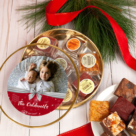 Personalized Christmas Welcoming Joy Photo Tin with Brownies (approx 8 pcs)