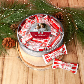 Personalized Happy Holidays Welcoming Joy Photo Large Plastic Tin with Peppermint Roca (approx 12 pcs)