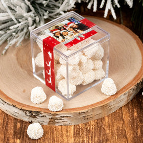 Personalized Christmas Welcoming Joy JUST CANDY® favor cube with Jelly Belly Gumdrops