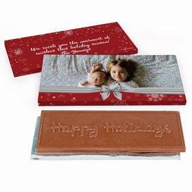 Deluxe Personalized Christmas Welcoming Joy Embossed Happy Holidays Chocolate Bar in Gift Box