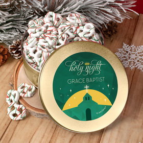 Personalized Christmas Holy Celebration Tin with Holiday Yogurt Pretzels (1lb approx 80 pcs)