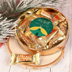 Personalized Christmas Holy Celebration Large Plastic Tin with Almond Roca (approx 12 pcs)