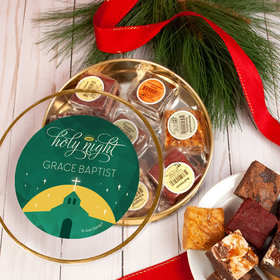 Personalized Christmas Holy Celebration Tin with Brownies (approx 8 pcs)